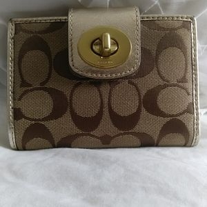 Authentic small Coach Jacquard classic wallet